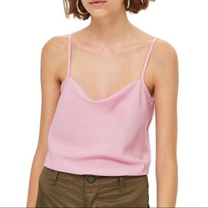 Topshop Pink Silky Cowl Neck Camisole Sz. 6